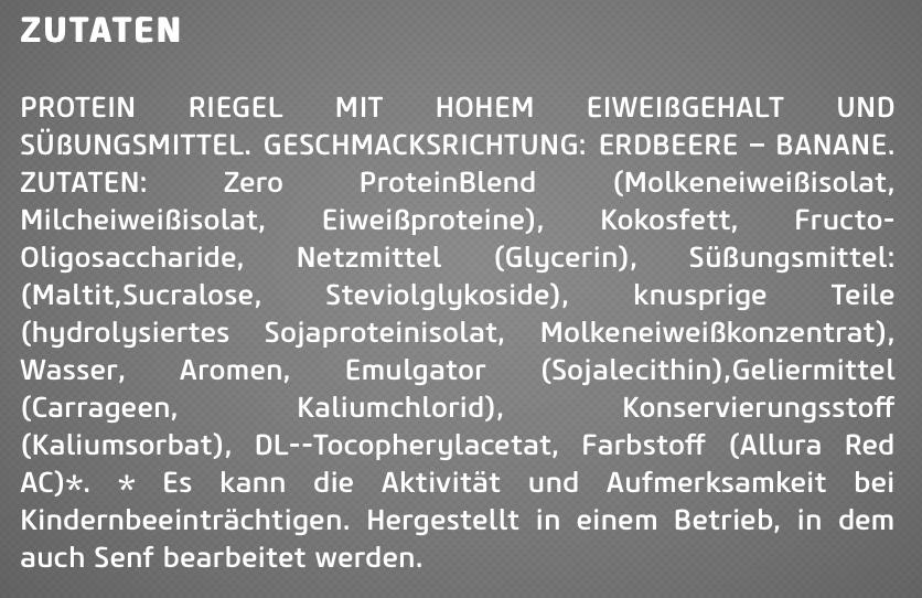 Inhaltsstoffe Biotech Zero Bar